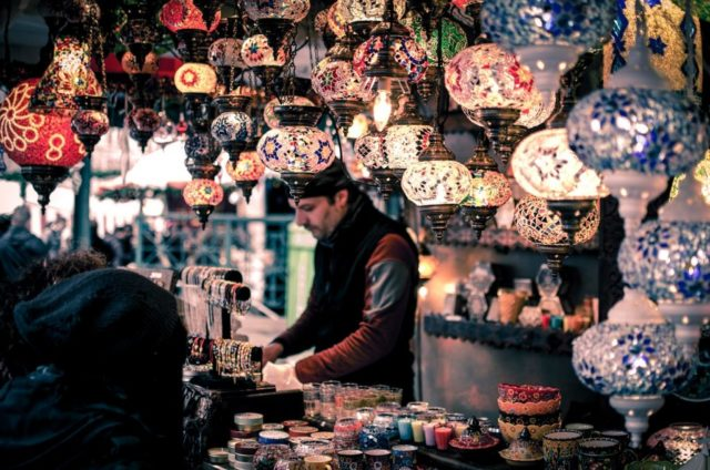 Colorful lights on a market