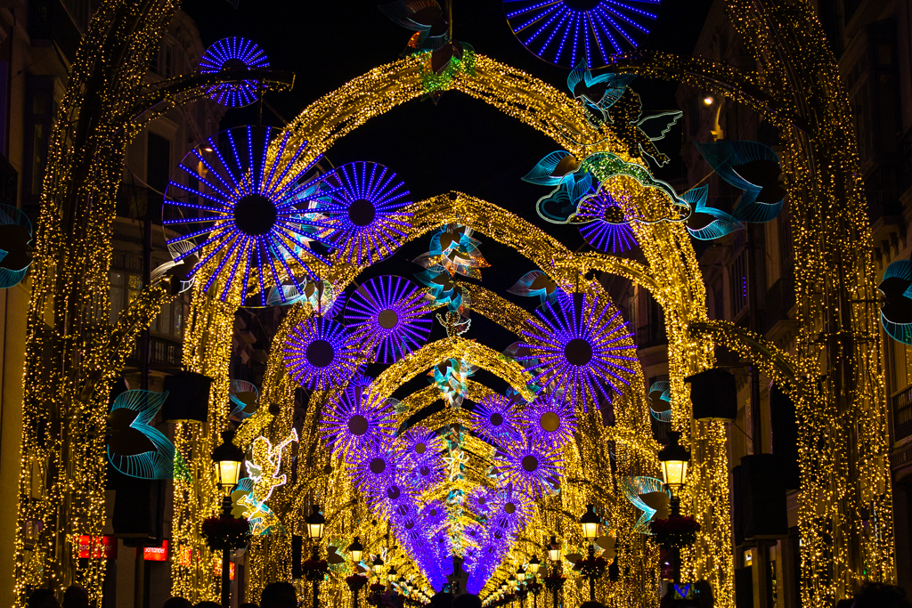 Malaga center decorations for new year's eve and Christmas