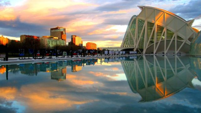 Sunset reflected in the lake in front of the city of arts and science in Valencia