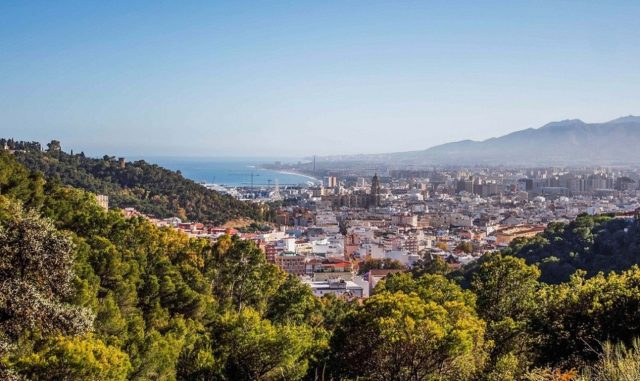 View of the city of Malaga from the hills