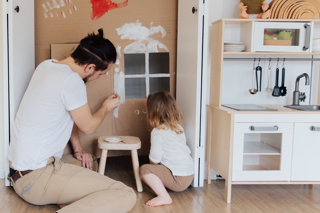 Family painting together during Quarantine