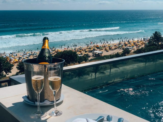 View of champagne and beach in Spain
