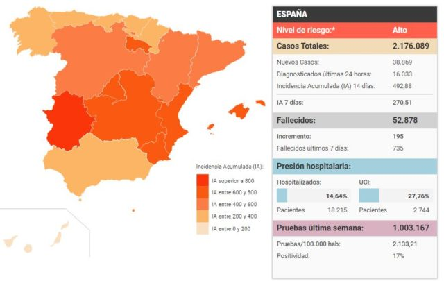 updated spain covid cases map