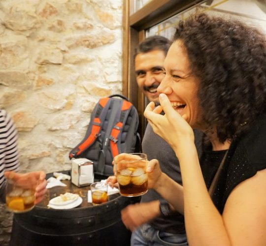 People having fun during tapas and wine tour