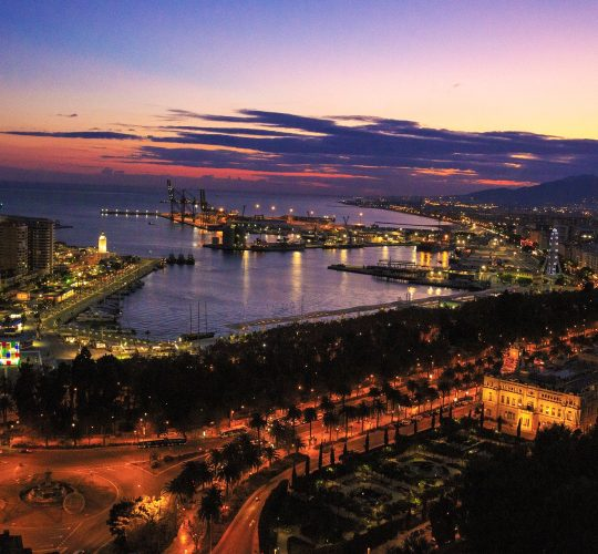 Sunset just before night in Malaga